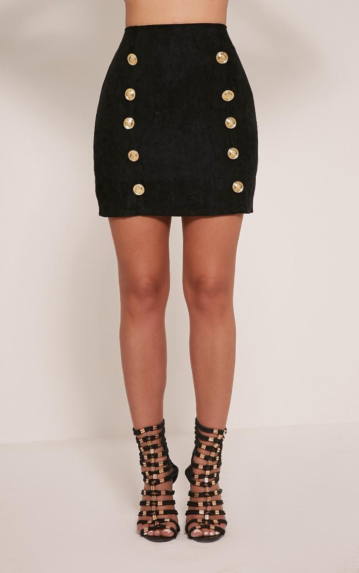 Bette Black Button Detail Mini Skirt 4