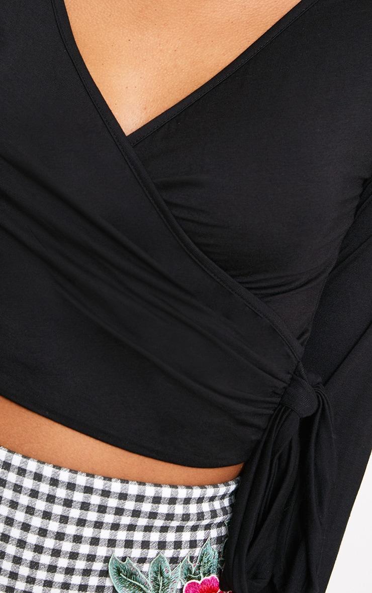 Black Plunge Longsleeve Tie Side Crop Top  5