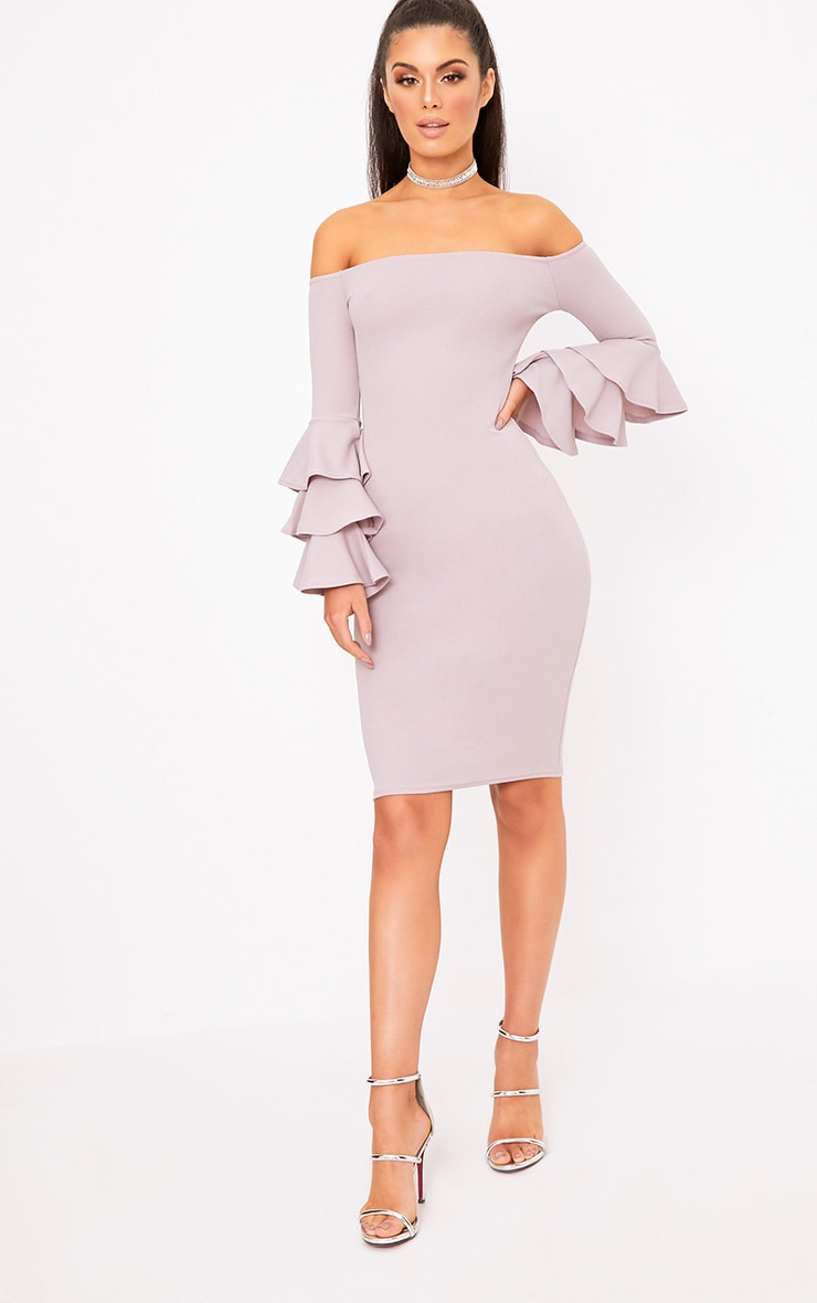 Lilac Grey  Bardot Ruffle Sleeve Midi Dress 4