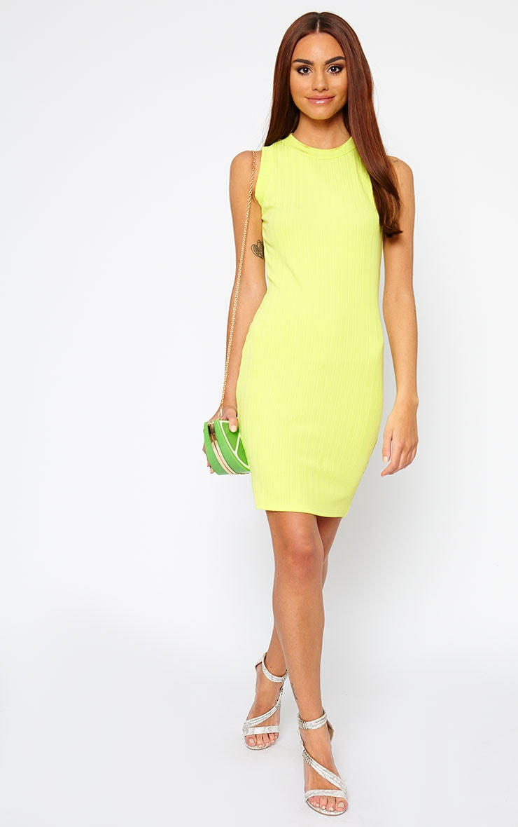 Stefany Lime Ribbed Mini Dress 4