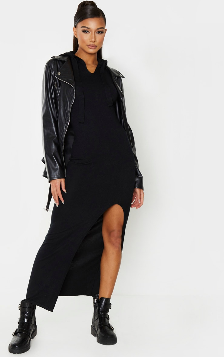 Black Hooded Knitted Maxi Dress 1