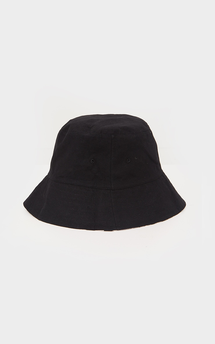 Black Gingham Check Reversible Bucket Hat 4