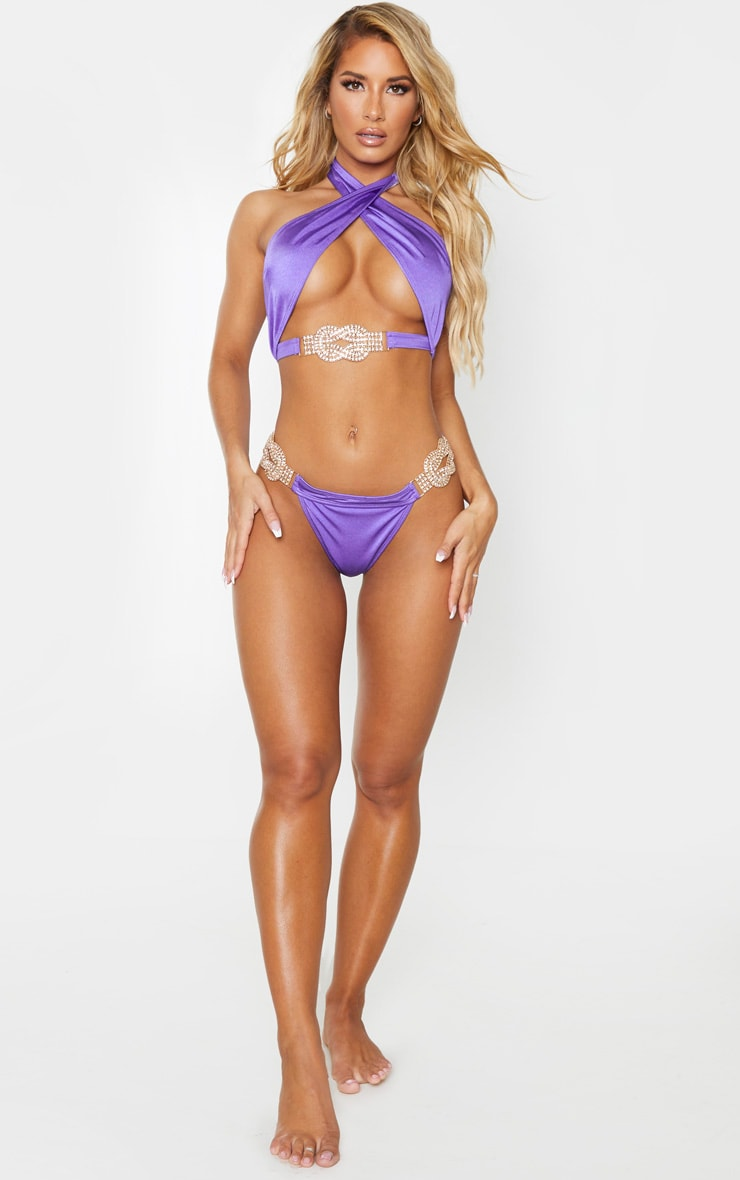 Purple Diamante Jewel Bikini Top 3