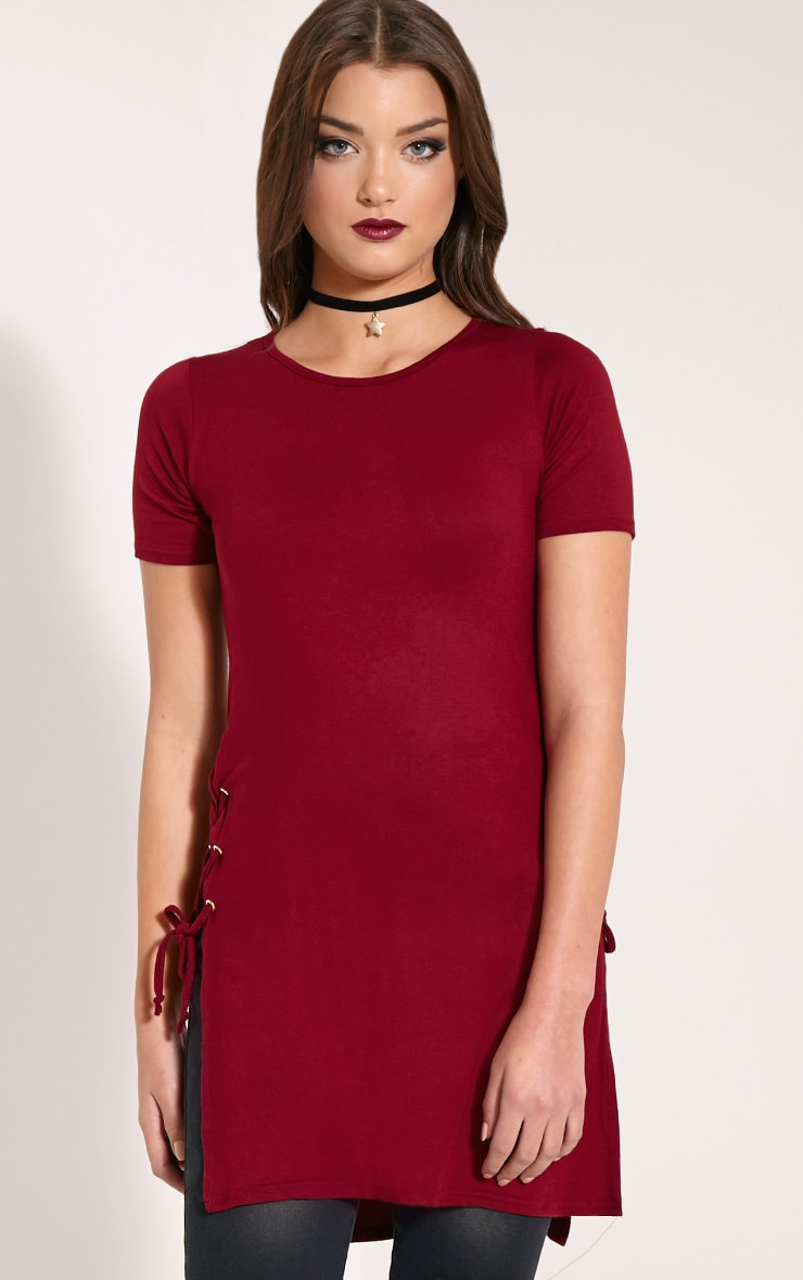 Andromeda Wine Eyelet Tie Side Jersey T-Shirt 4