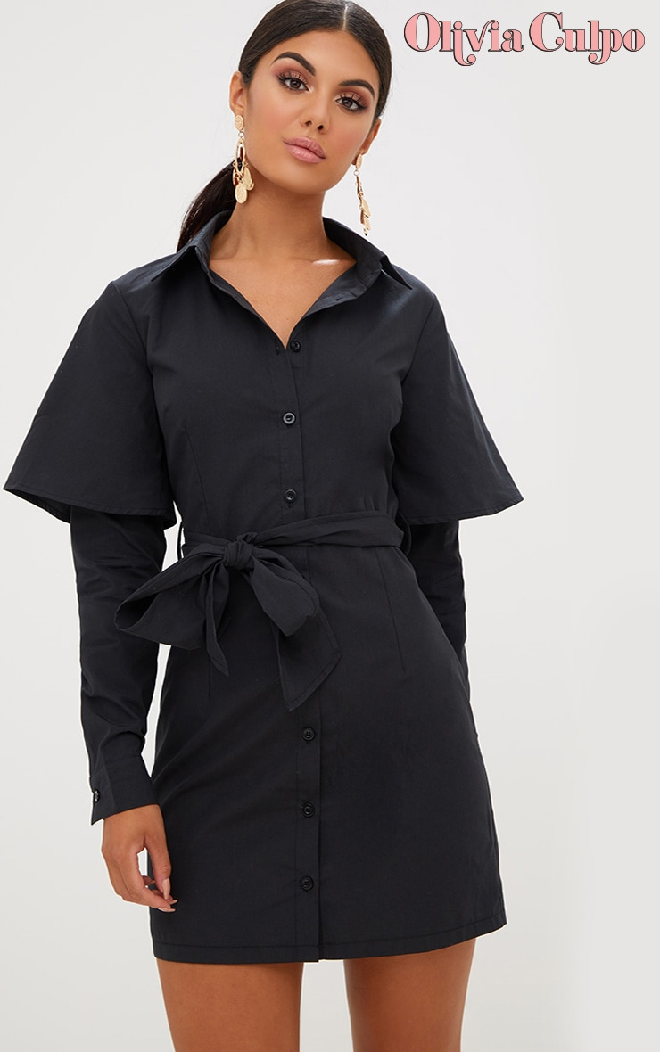 Black Double Cuff Tie Waist Shirt Dress 1