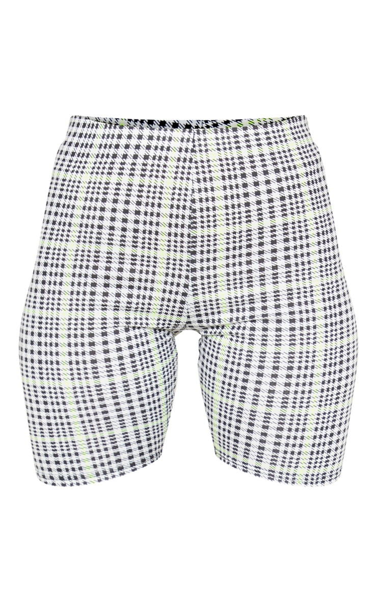 Black and Neon Lime Check Shorts 3