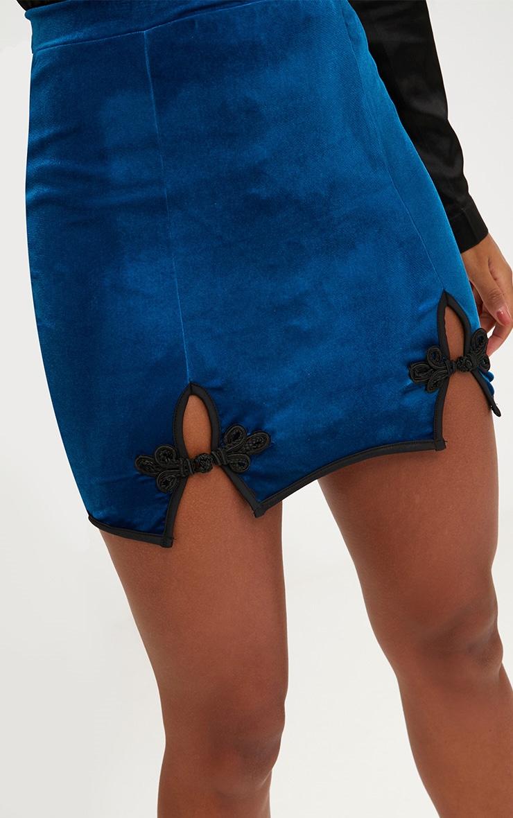Teal Velvet Ornate Double Split Mini Skirt  4