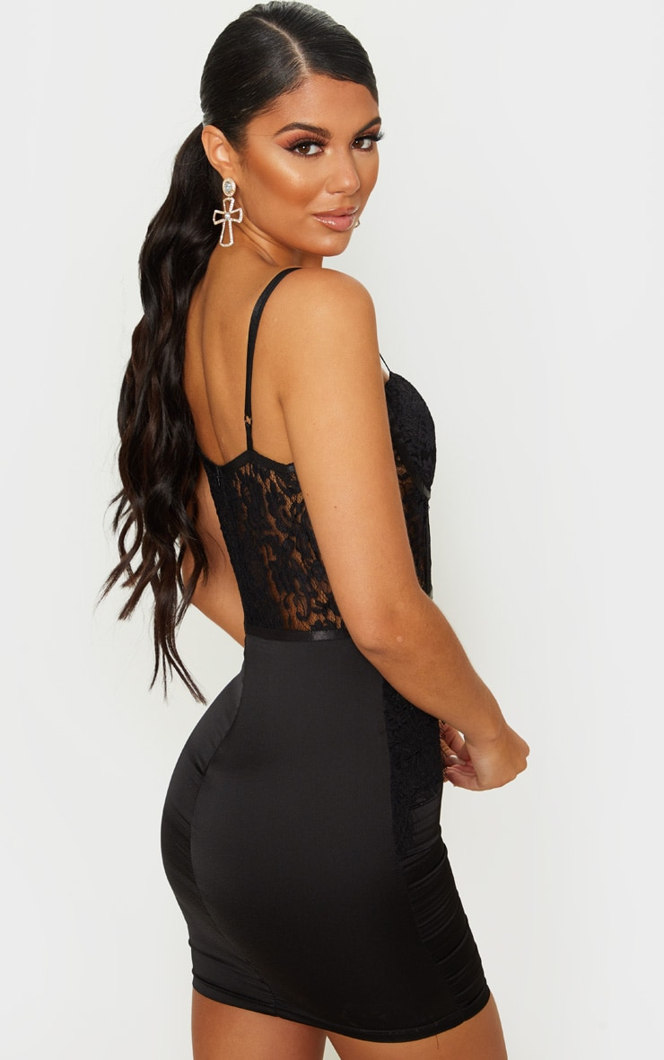 Black Lace Bodice Strappy Cup Detail Bodycon Dress 2