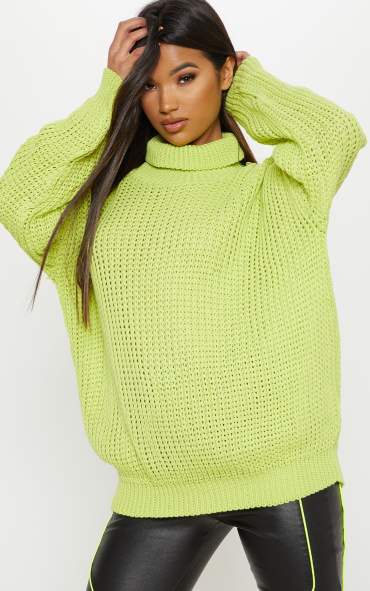 Lime Oversized High Neck Knitted Jumper
