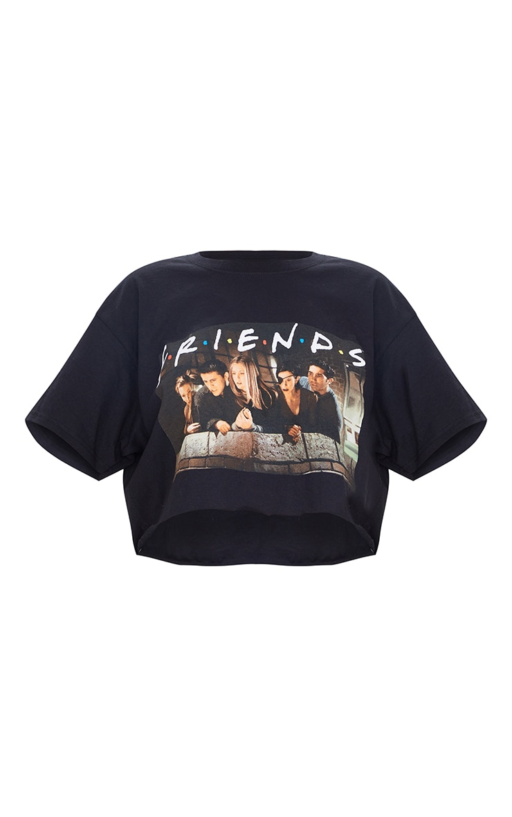 Black Printed Friends Crop T Shirt 5