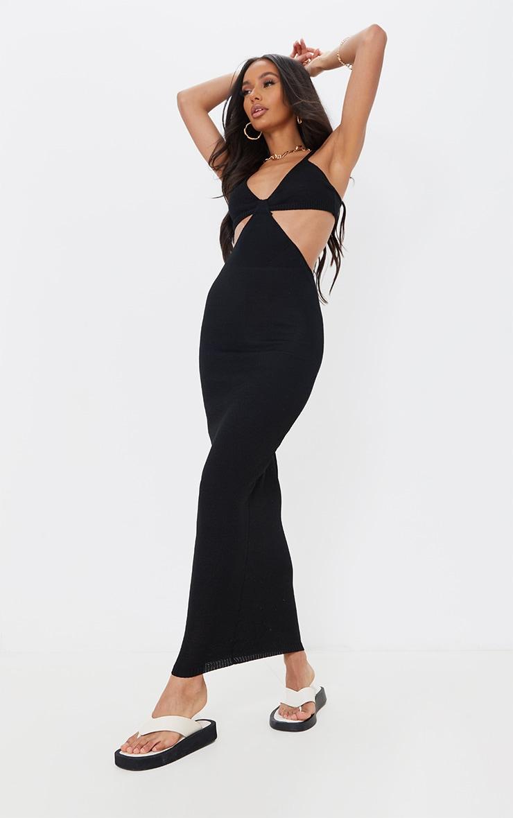 Black Sheer Knit Cut Out Maxi Dress 1