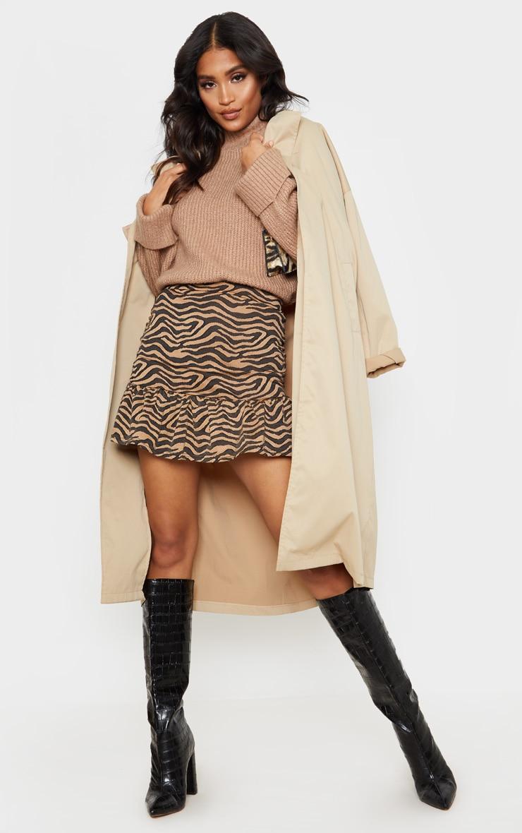 Tan Zebra Print Flippy Hem Mini Skirt 1