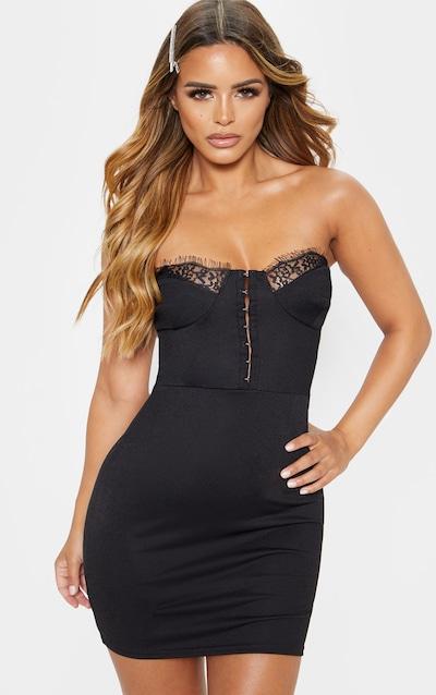 Petite Black Corset Lace Bandeau Mini Dress