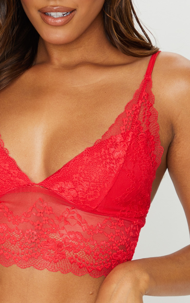 Red Lace Triangle Longline Bralet 4