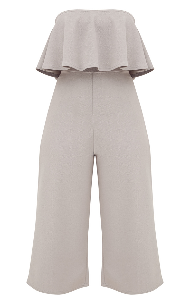Grey Bardot Double Layer Culotte Jumpsuit 3