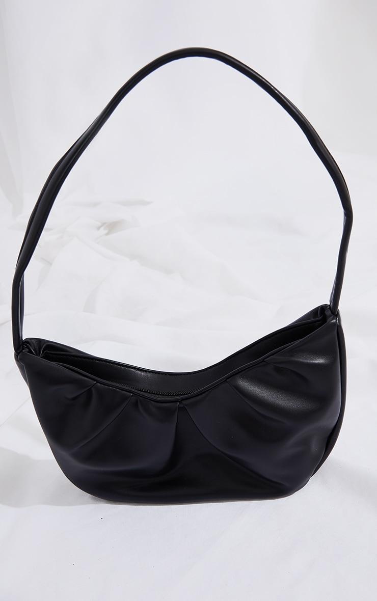 Black PU Ruched Shoulder Bag 2