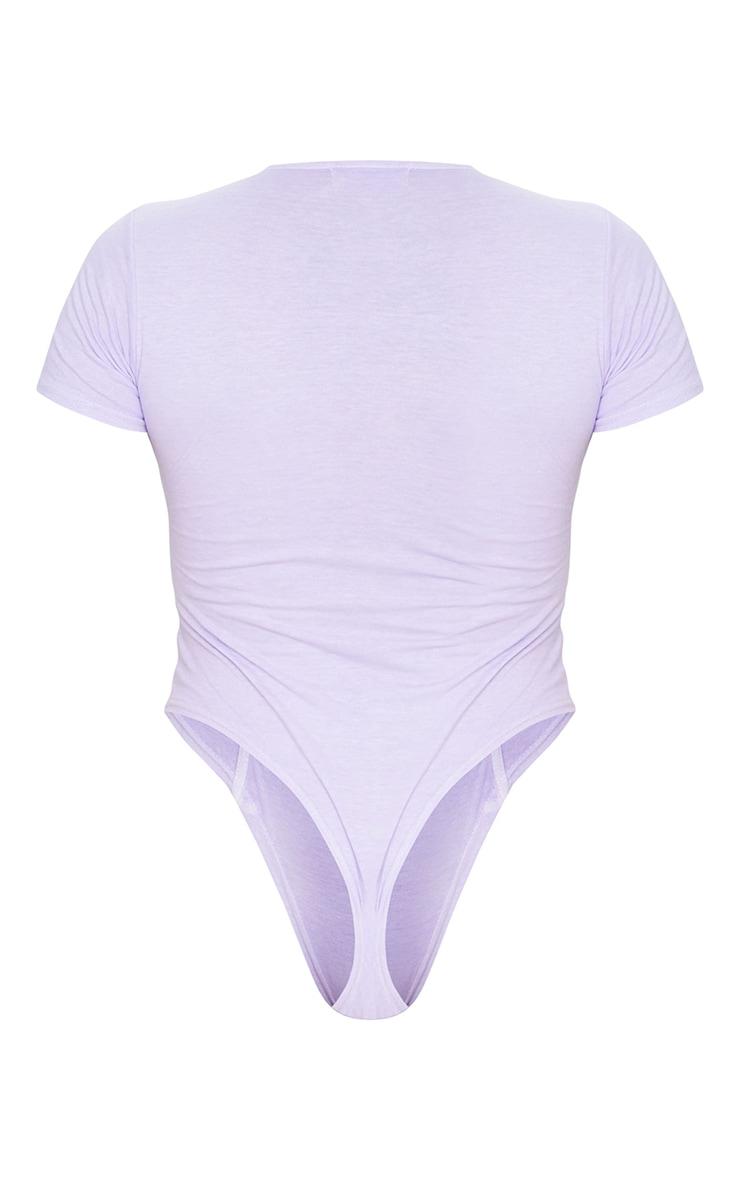 Shape Lilac Cotton Binding Detail Short Sleeve Bodysuit 6