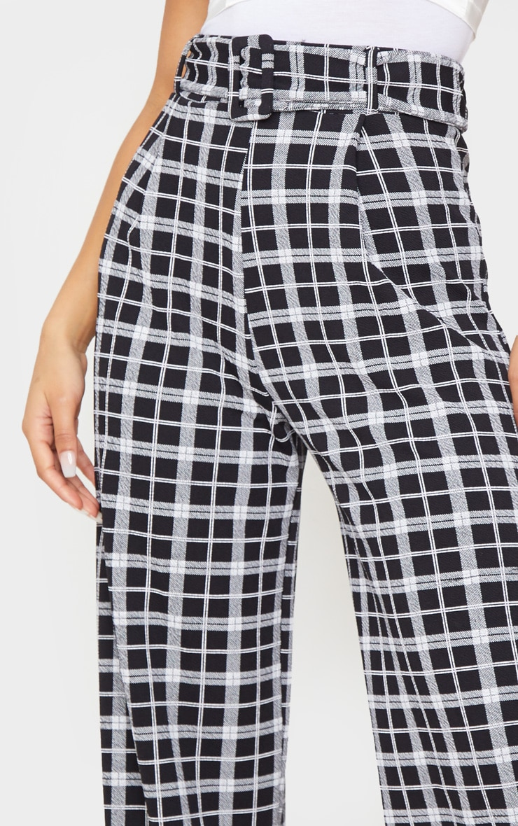 Check Belted Wide Leg Pants 5