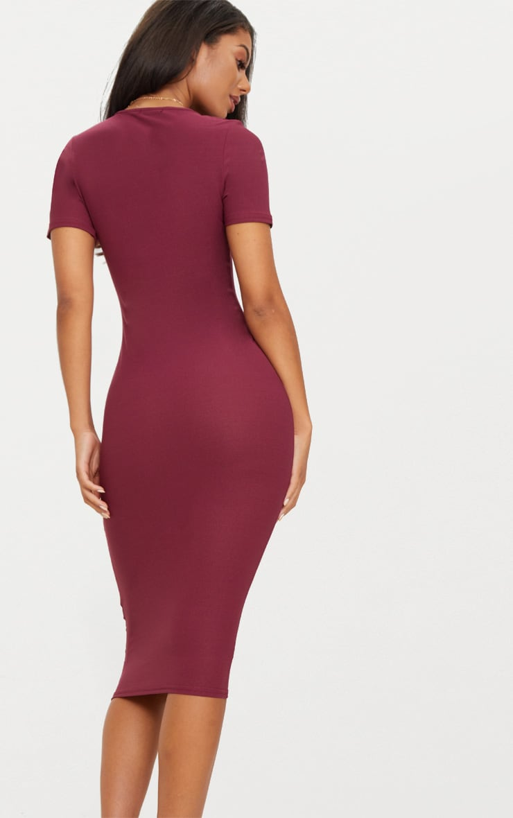 Burgundy Cap Sleeve Midi Dress  2