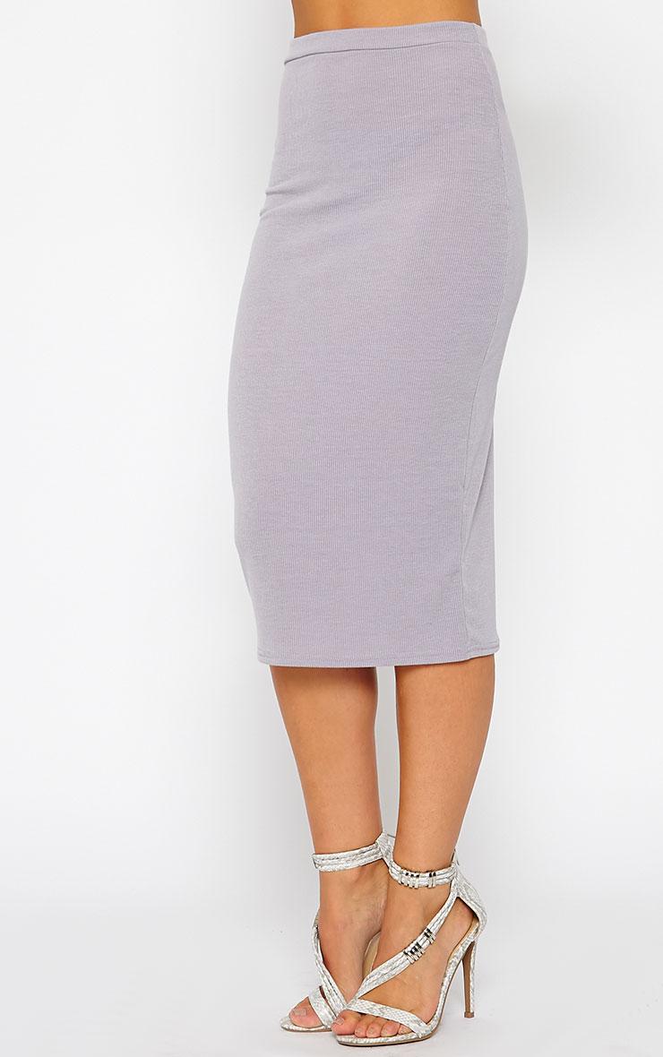 Basic Grey Ribbed Midi Skirt 4