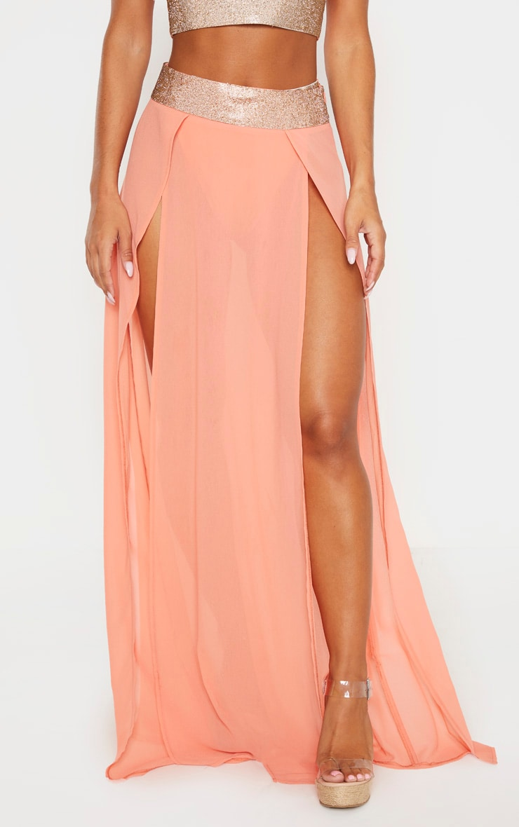 Peach Diamante Waist Split Beach Skirt 2