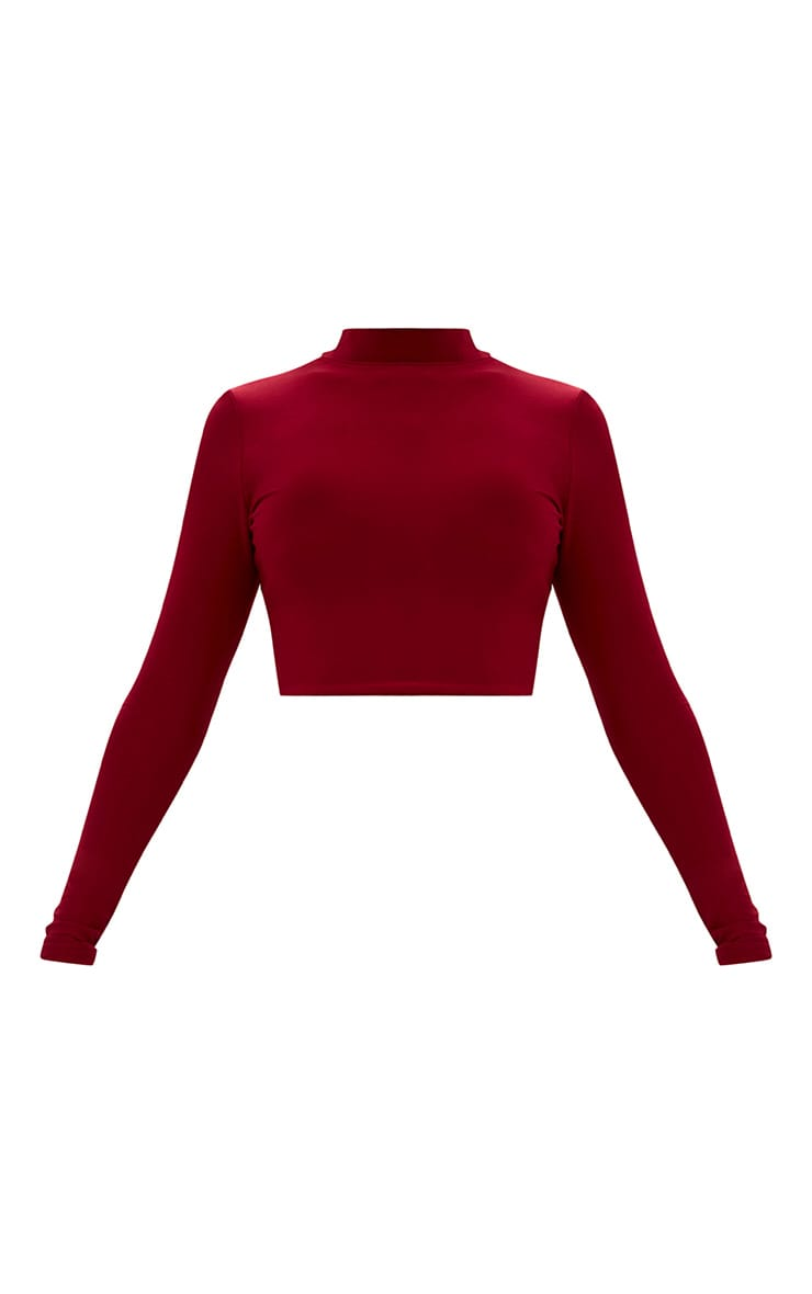 Maroon Slinky High Neck Longleeve Crop Top 3