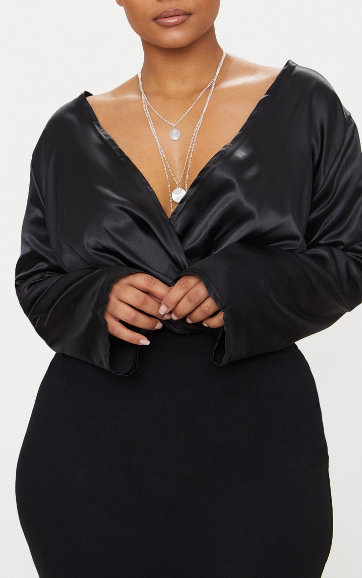Plus Black Satin Plunge Bodysuit 4