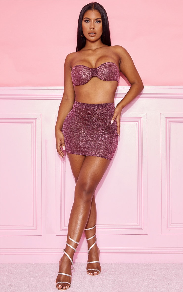 Pink Textured Glitter Bow Bandeau And Mini Skirt Set 4