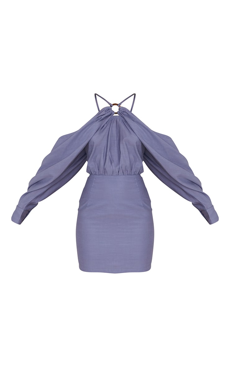 Blue Linen Look Batwing Sleeve Strappy Detail Bodycon Dress 5