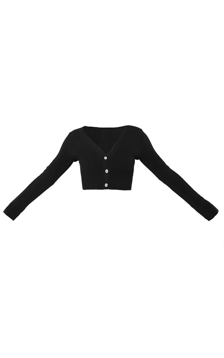 Black Ribbed Knitted Cropped Cardigan 5