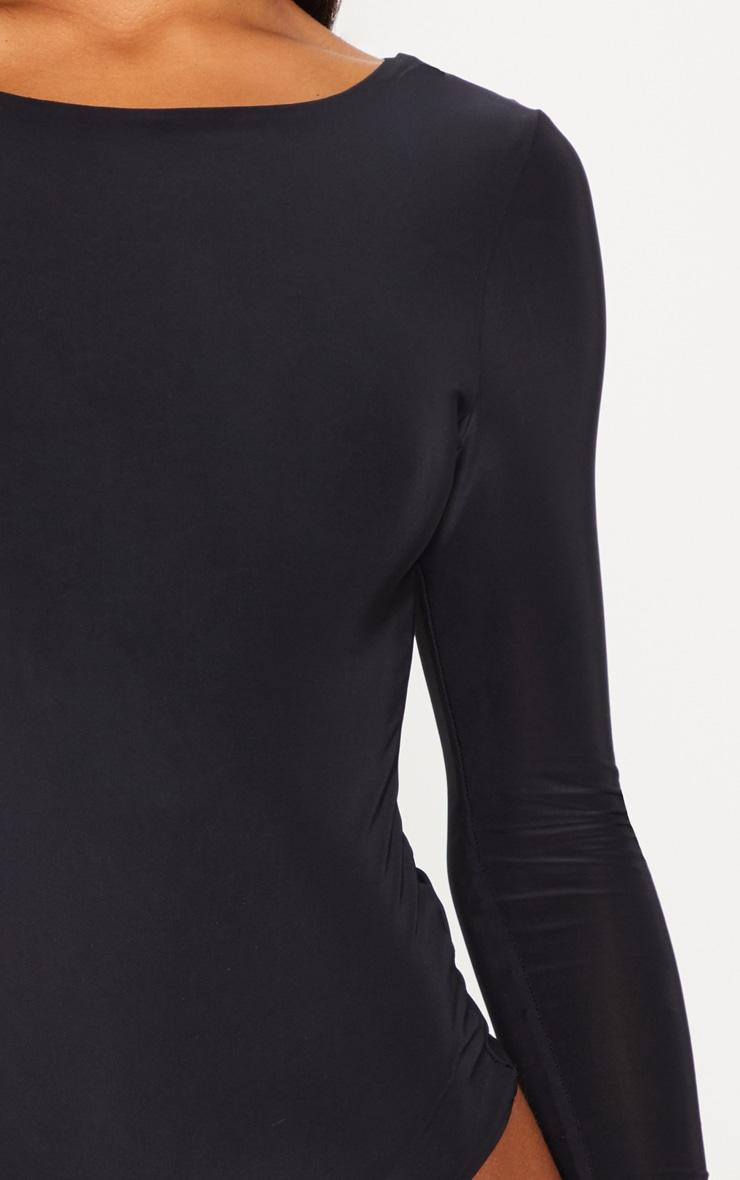 Amiee Slinky Black Longsleeve Thong Bodysuit 6