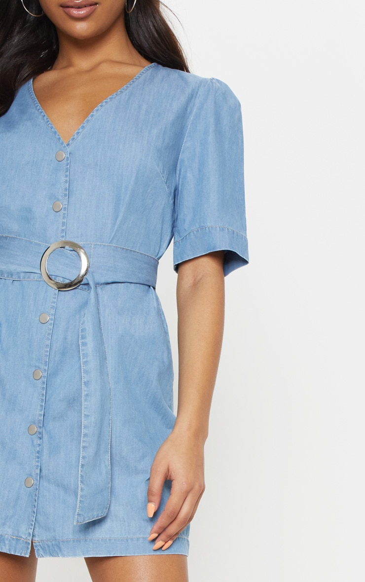 Light Wash Buckle Denim Dress 5