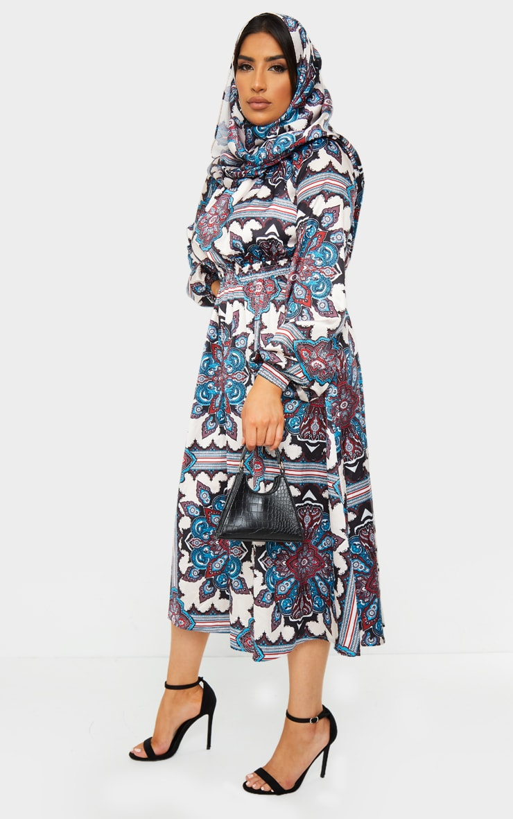 Blue Paisley Print Crew Neck Elastic Waist Midi Dress 3