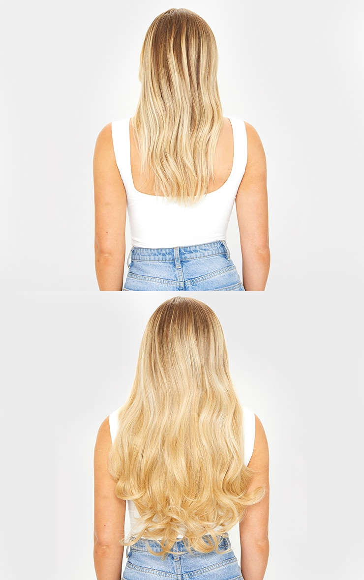 LullaBellz Super Thick 16'5 Piece Blow Dry Wavy Clip In Hair Extensions Golden Blonde 4