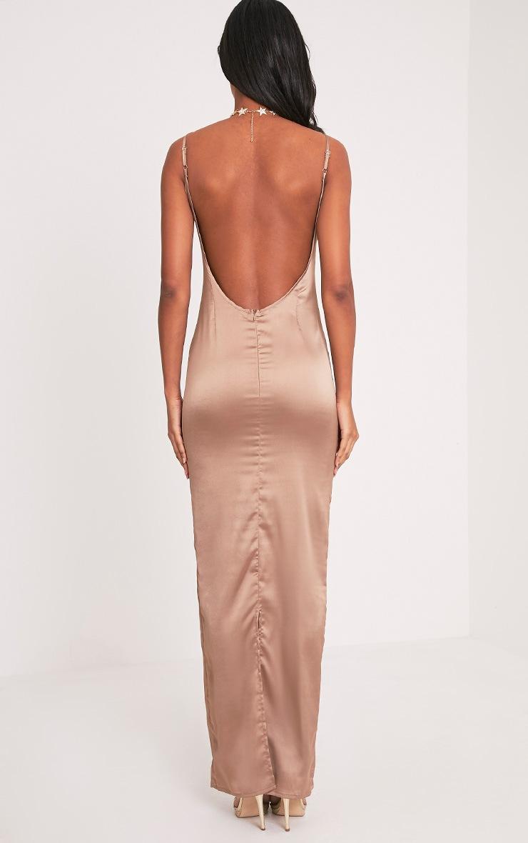 Tinala Taupe Silky Low Back Maxi Dress 2