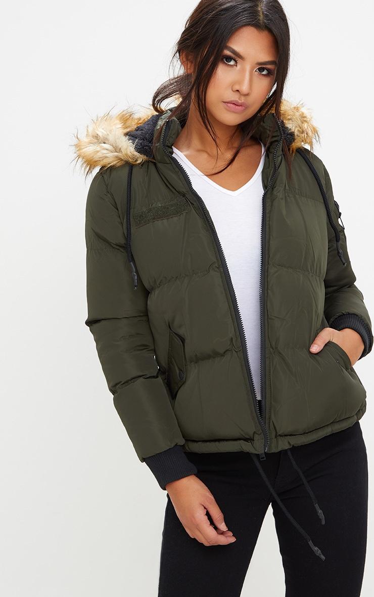 Khaki Puffer Jacket with Faux Fur Hood 4
