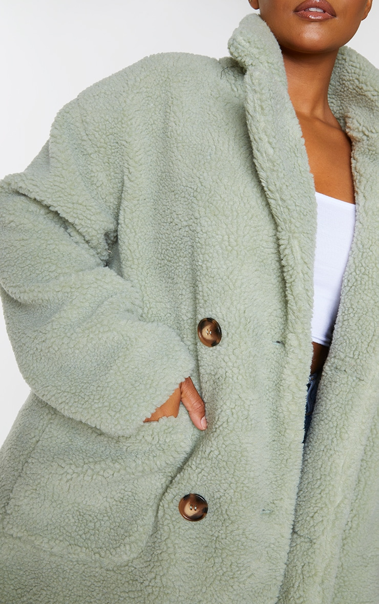 PLT Plus - Manteau mi-long en imitation peau de mouton vert sauge 4