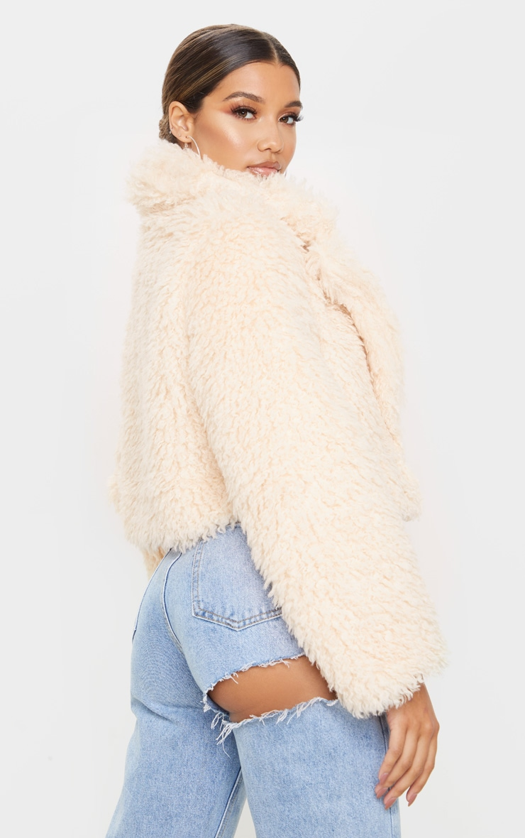 Stone Teddy Faux Fur Cropped Jacket  2