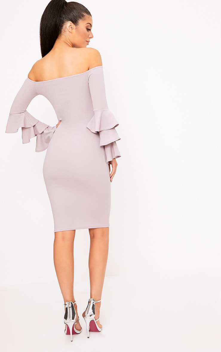 Lilac Grey  Bardot Ruffle Sleeve Midi Dress 2