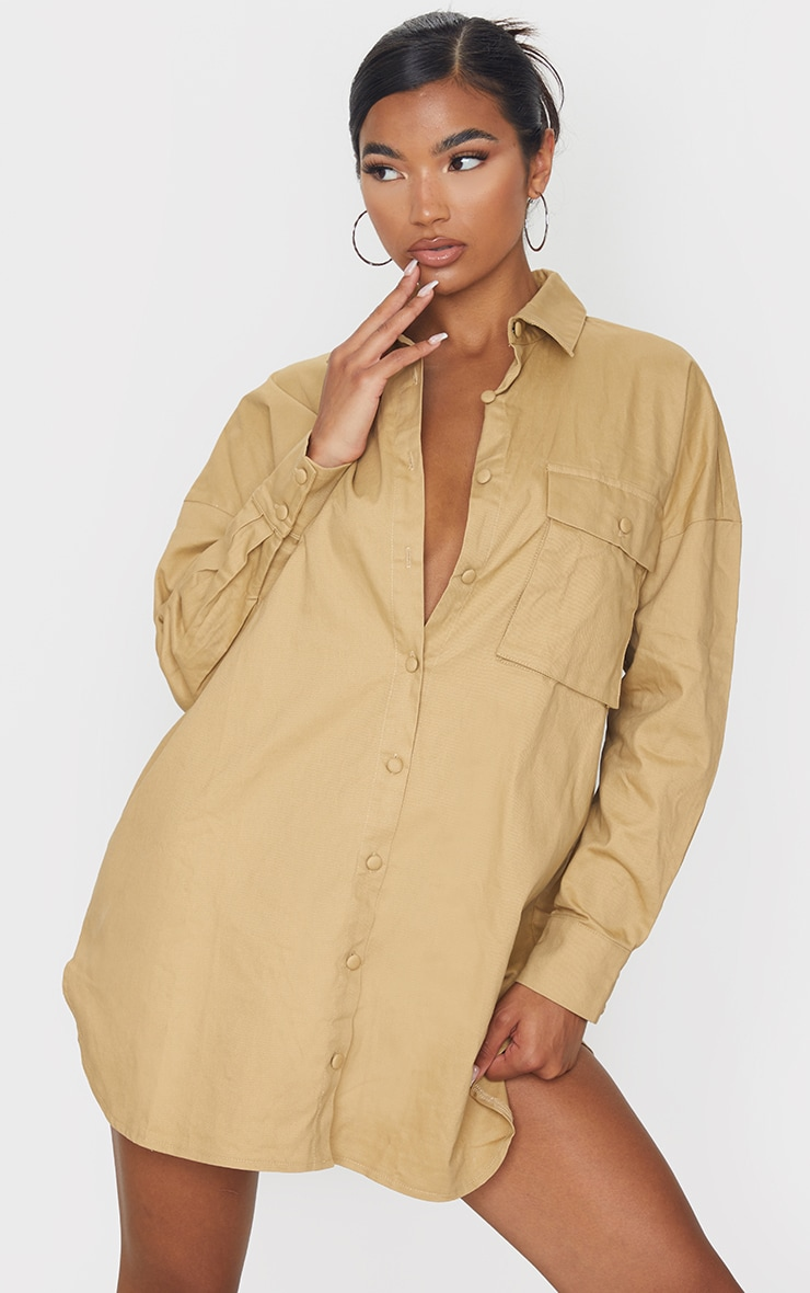 PRETTYLITTLETHING Sand Embroidered Back Cargo Shirt Dress 1