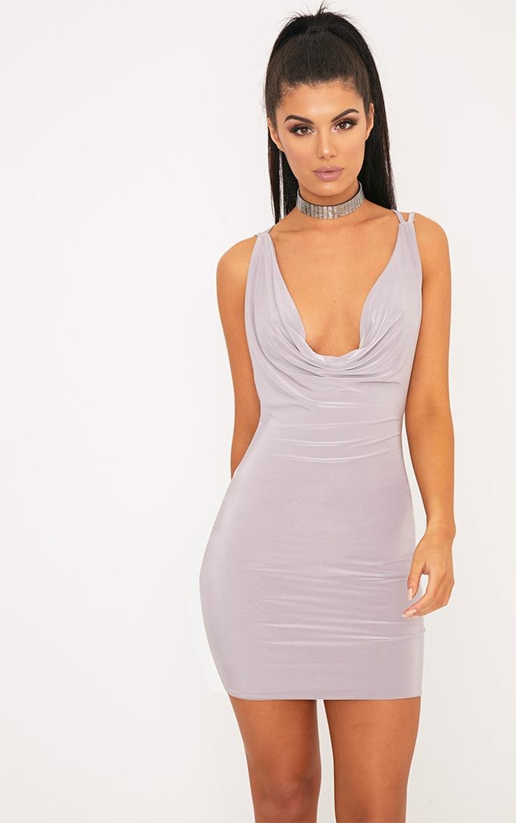 Eleonora Lilac Grey Strappy Back Cowl Neck Bodycon Dress 2