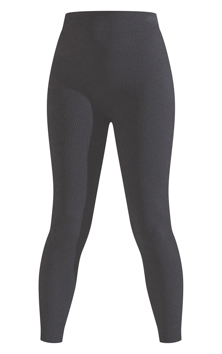 Black Structured Contour Ribbed Leggings 5