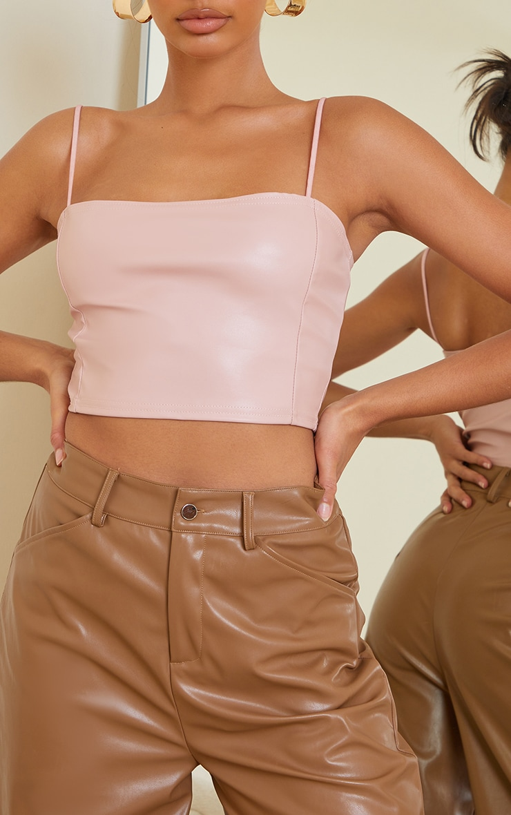 Light Pink Faux Leather Crop Top 4