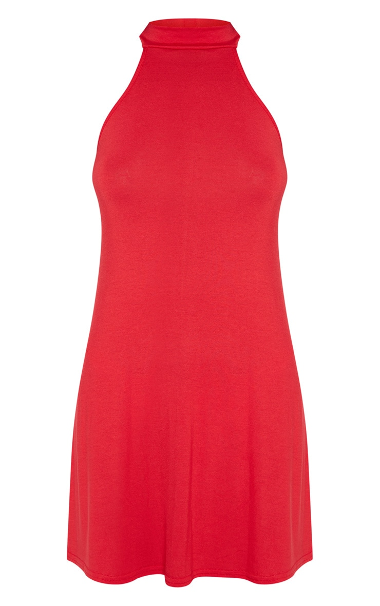 Red Jersey High Neck Swing Dress 3