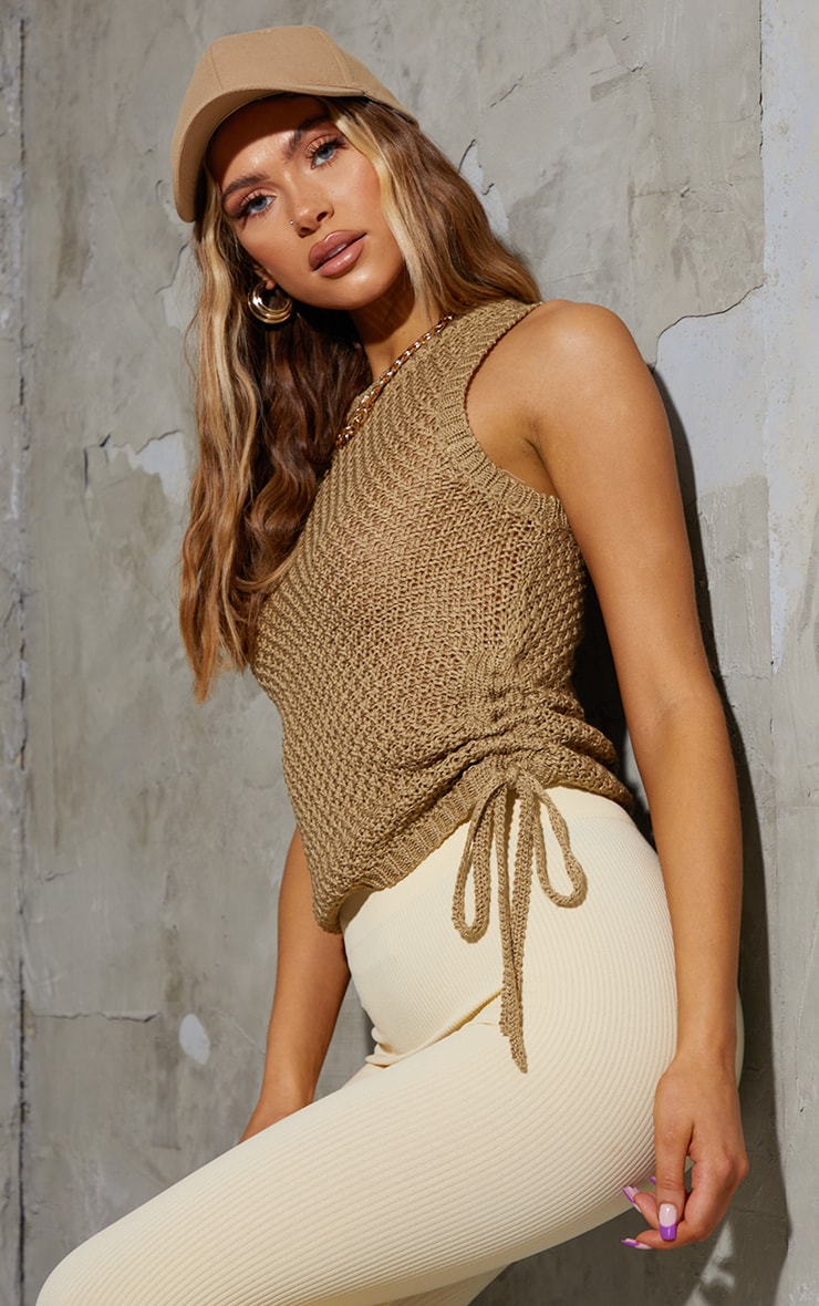 Khaki Tie Side Knitted Waffle Top 1