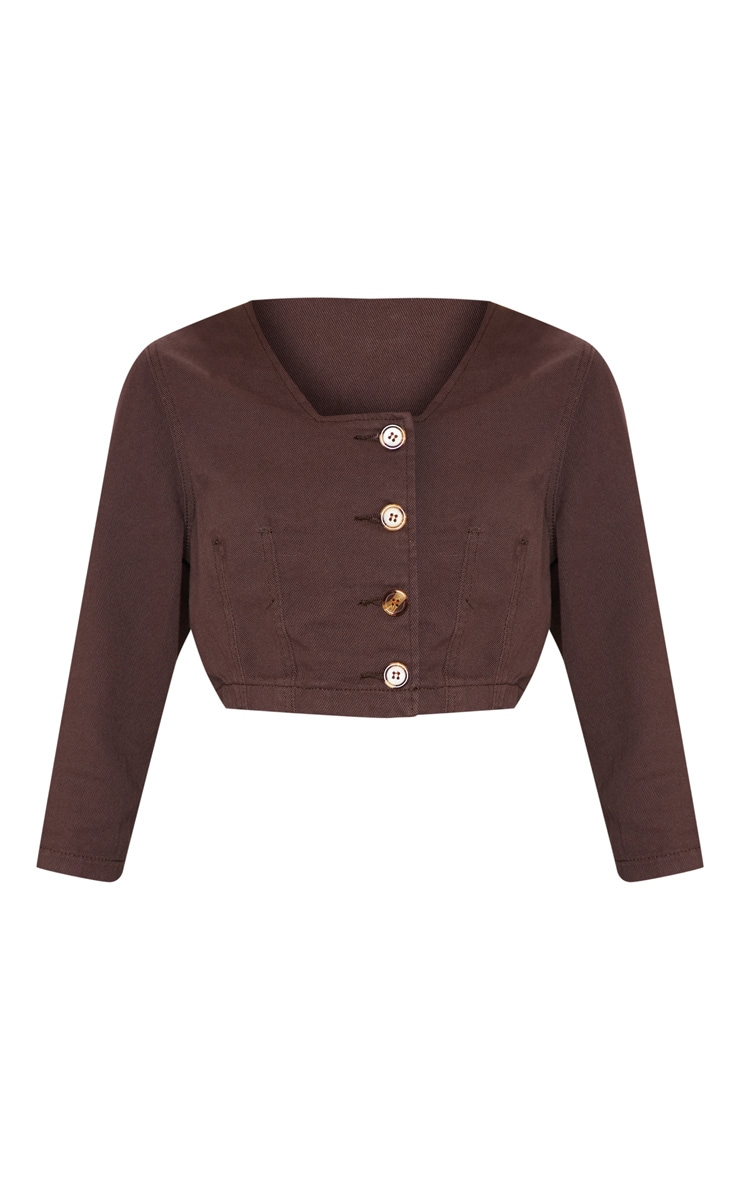 Chocolate Contrast Button Denim Crop Top  3