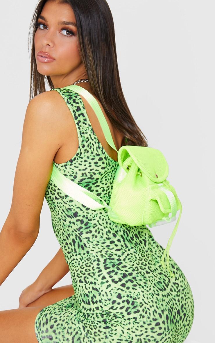 Lime Mesh Seatbelt Pocket Mini Backpack 1