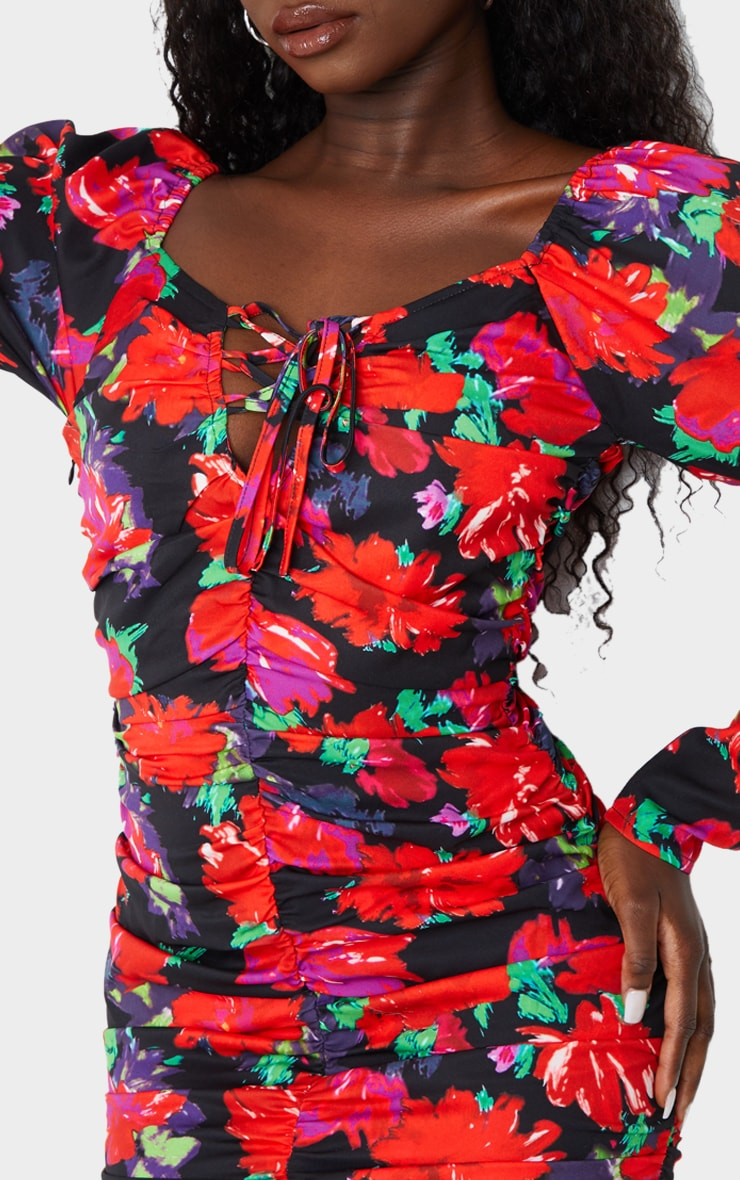 Multi Floral Puff Sleeve Lace Up Ruched Bodycon Dress 4