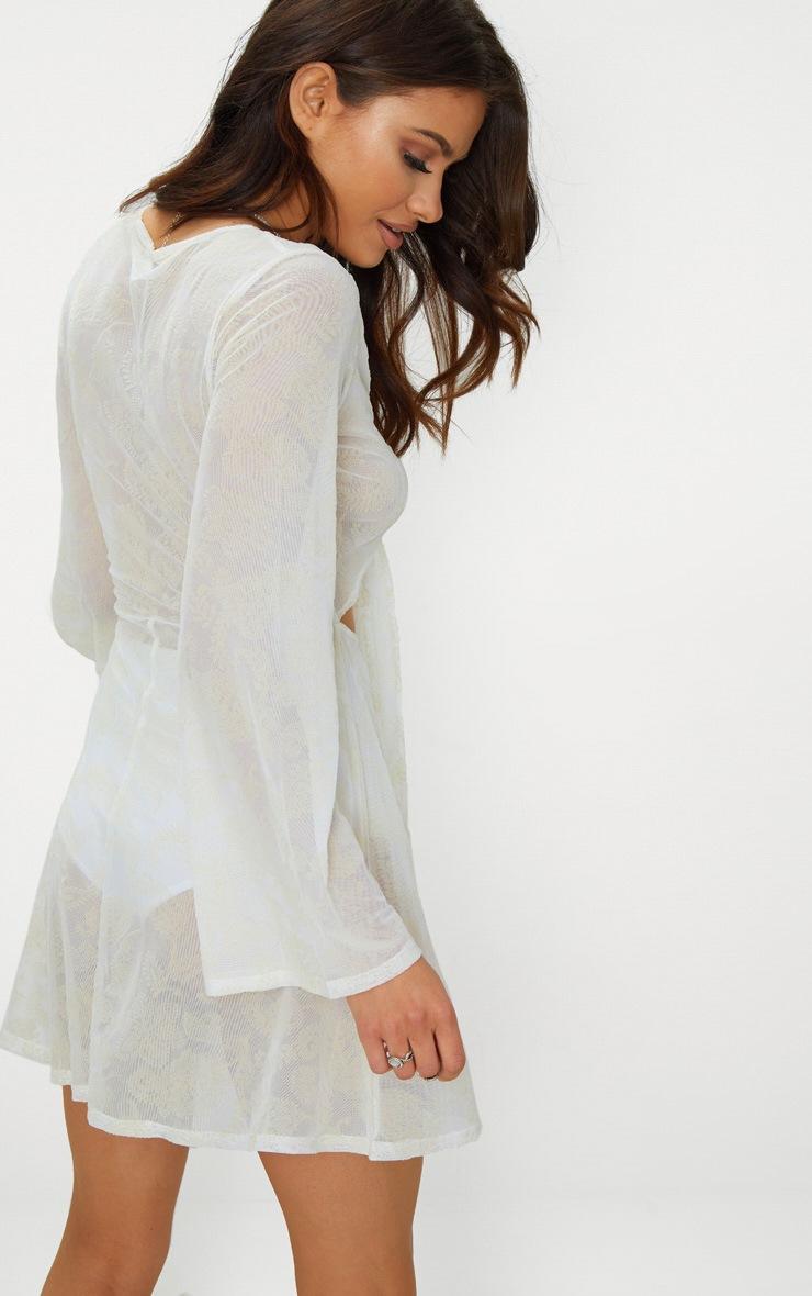 White Paisley Flocked Tie Front Skater Dress 2
