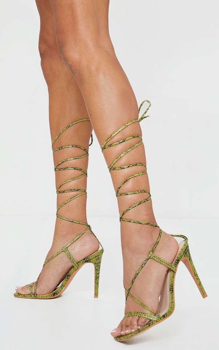 Khaki PU Barley There Lace Up High Heels 1